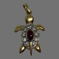Vintage French 18 K gold Ruby paste diamond Tortoise Charm