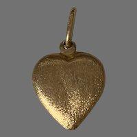 Vintage 18 K Gold Brushed Heart Charm pendant