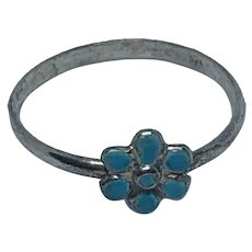 Antique  French silver and turquoise enamel Daisy ring