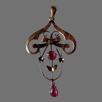 Antique Edwardian Art Nouveau Amethyst 9ct gold pendant