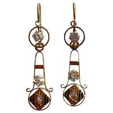 Antique French 18 K gold enamel paste  drop dangling earrings
