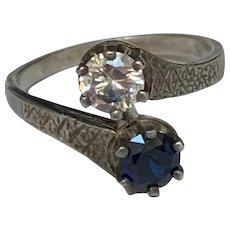 Vintage french paste toi et moi silver ring