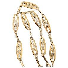 Antique Art Nouveau filigree  Gold Filled Necklace