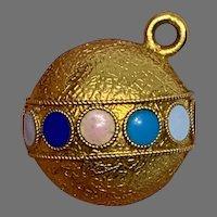 Antique enamel 18 K gold Ball Pendant Charm