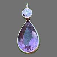 Vintage  18 K white gold diamond amethyst drop pendant