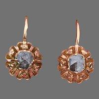 Antique Large Early Victorian 18 K gold Rose cut diamond  trefoil Earrings