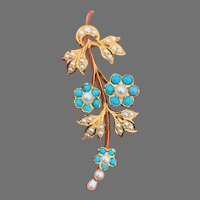 Antique Victorian 18 K gold turquoise and seed pearls daisy  Pendant