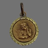 Antique French Cherub Angel 18 k gold 2 tones Medal Pendant