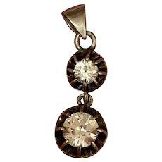 Antique silver  moving paste diamond solitaire pendant