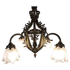 Ornate French bronze Chandelier With Rams Heads