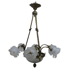 French Bronze Classical Chandelier Circa 1920's