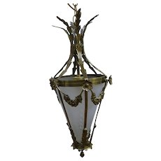 French Bronze Pendant Chandelier With Frosted Etched Glass Circa 1920's