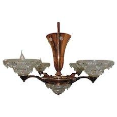Art Deco Chandelier Copper Finish