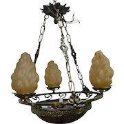 French Glass And Alabaster Chandelier