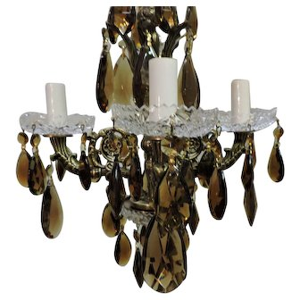 Brass And Amber Crystal Mini Chandelier