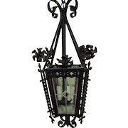 French Wrought Iron & Stained Glass Chandelier