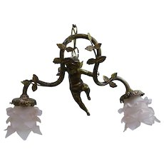 French Bronze Cupid Chandelier