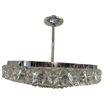 French Mid -Century Modern Chrome and Glass Chandelier