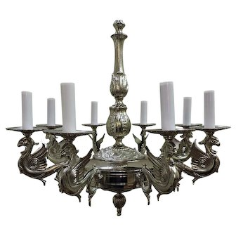 French Eight Light Silver Over Brass Chandelier With Griffens