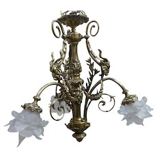 French Bronze  Chandelier With Rams Heads