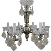 Silver over Bronze And Crystal Mini Chandelier Circa 1930's