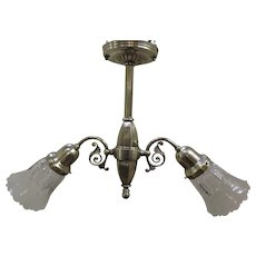 Early Electric Two Light Chandelier Nickel Finish