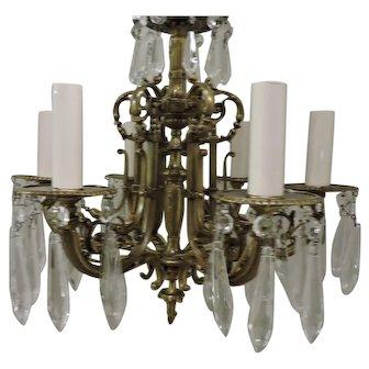 6 Light solid brass mini chandelier