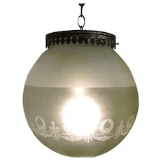 HUGE Victorian Etched Ball Fixture