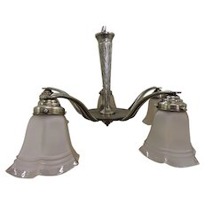 French Art Deco Chandelier Nickel Finish