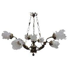 7 Light Solid Brass Cupid Chandelier