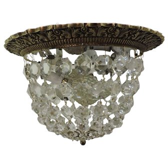 Flushmount Brass And Crystal Chandelier