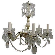 Six Light Alabaster, Brass, And Crystal Chandelier