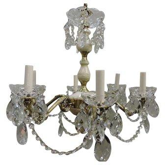 Six Light Alabaster, Brass, And Crystal Chandelier