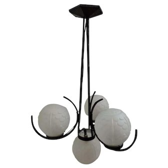 French Art Deco Chandelier  Wrought Iron