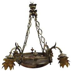 8 Light French Alabaster chandelier