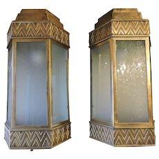Exterior Large Deco Bronze Sconces Pair