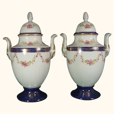 Pair Chinese Export Style Porcelain Urns by Wildwood Accents Vases