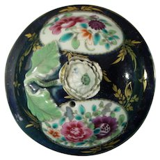 Worcester Teapot Lid 18thc Porcelain in Blue Ground Chinese Export Style