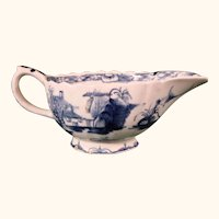 Antique Bow Factory Blue and White Porcelain Creamer or Small Sauceboat c.1765.