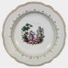 Doccia Plate with Woman in a Classical Setting C1760 Antique Italian Porcelain 18th.