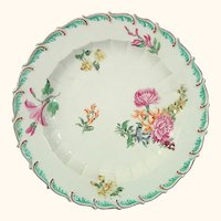 Antique Porcelain Chelsea Red Anchor Period Plate with Scrolling Rim Decorated with Flowers c.1755.