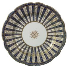 12 Caughley or Chamberlain Worcester Plates in Blue and Gilt c.1795.