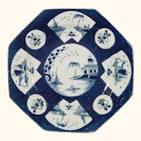 Octagonal Bow Porcelain Plate with Powder Blue Ground c.1765.