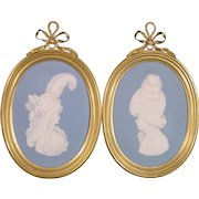 Wedgwood Blue Jasper Portrait Plaques King George IV as Prince of Wales and His Wife Caroline, Princess of Wales c.1795.