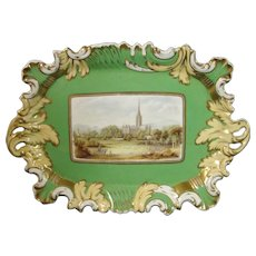 English Porcelain Tray with View of Salisbury Cathedral, Perhaps made by Coalport or Rockingham c.1825.