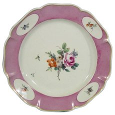 Ludwigsburg Rare C.1775 Antique Plate with Powdered Purple Ground and Flower Bouquet.