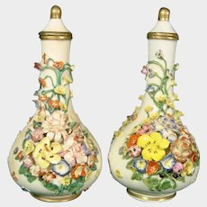 Two Derby Scent or Perfume Bottles Colorful Encrusted Flowers C.1810 Antique British Porcelain.