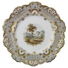 Davenport Plate with Landscape Woodlands Scene, c.1840.