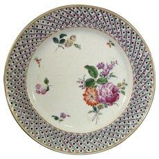 18thc Italian Cozzi Pierced Plate with Flower Bouquets c.1765.