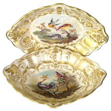 Pair of Derby Lozenge-Shaped Dessert Dishes with Colorful Birds Painted by Richard Dodson c.1815